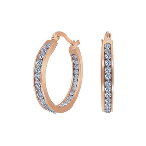 Rose Gold Plated Stainless Steel CZ Hoop Earrings