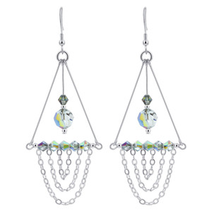 Vitrail Crystal Sterling Silver Chandelier Earrings