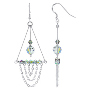 Vitrail Crystal Sterling Silver Chandelier Earrings #GE663