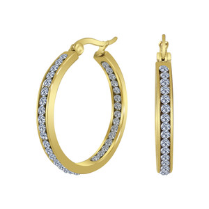 Gold plated Stainless Steel CZ Hoop Earrings