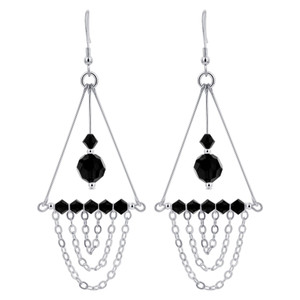 Black Crystal Sterling Silver Chandelier Earrings
