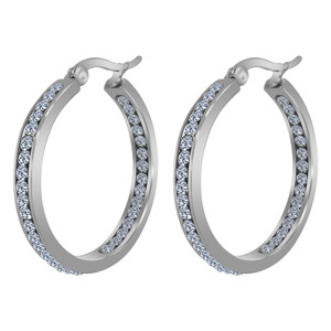 Silver Plated Stainless Steel CZ Hoop Earrings