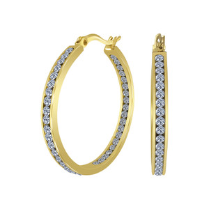 Stainless Steel Cubic Zirconia Hoop Earrings