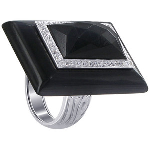 925 Sterling Silver Rectangular Simulated Black Stone and Cubic Zirconia Cocktail 5mm Ring