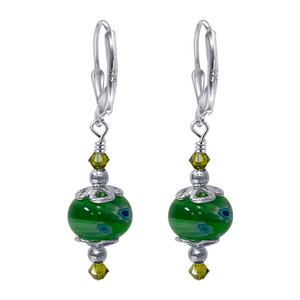 Green Glass Beads Drop Earrings