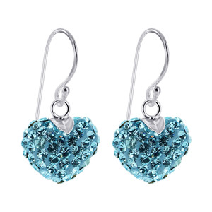 Heart Blue Crystal Silver French Ear Wire Drop Earrings