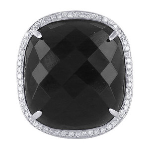 925 Silver Square Black Faceted CZ Cocktail Ring
