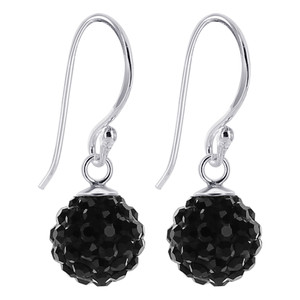Studded Black Crystal Sterling Silver Drop Earrings