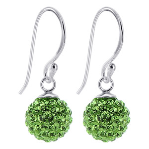 Green Crystal studded Sterling Silver Drop Earrings
