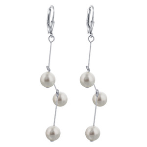 Faux Pearl Zig-Zag Drop Earrings