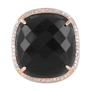 925 Silver Copper Faceted Black CZ Cocktail Ring