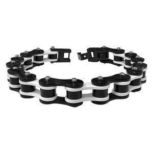 Men's Stainless Steel Two Tone Black and White Bracelet