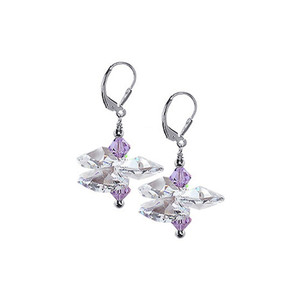 Lavender and Clear Crystal Drop Earrings