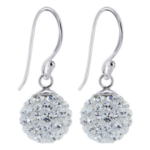 Studded Clear Crystal Sterling Silver Drop Earrings