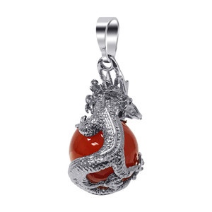 Silver Plated Carnelian Gemstone Dragon Pendant