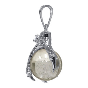Silver Plated Clear Quartz Gemstone Spooky Claw Pendant
