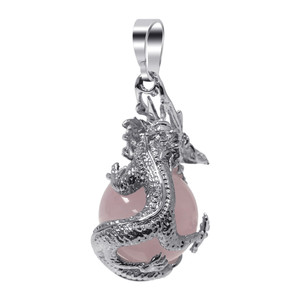Rose Quartz Gemstone Dragon Pendant