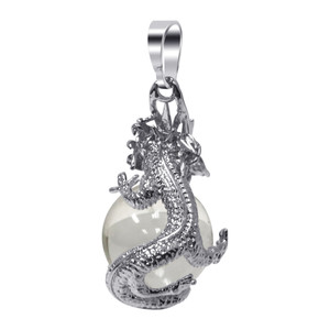 Clear Quartz Gemstone Dragon Pendant