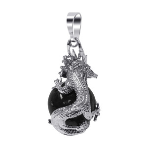 Amethyst Gemstone Dragon Pendant
