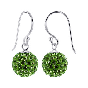 10mm Studded Green Sterling Silver Drop Earrings