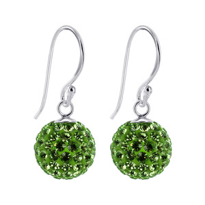 Studded Green Sterling Silver Drop Earrings