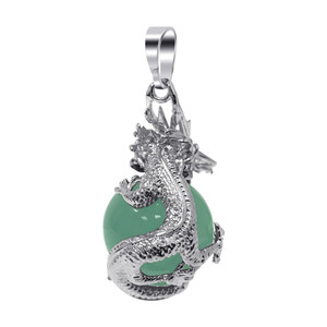 Green Aventurine Gemstone Dragon Pendant