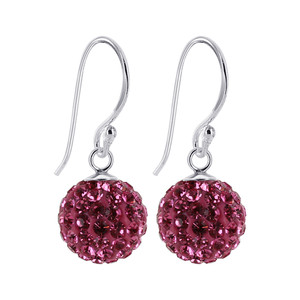 8mm Studded Pink Crystal Sterling Silver Drop Earrings