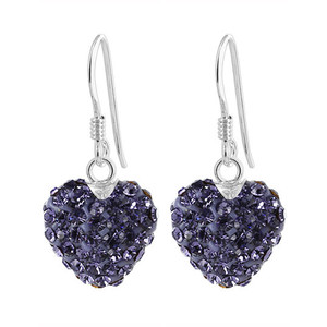 12mm Purple Heart 925 Sterling Silver French Ear Wire Drop Earrings