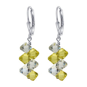 Swarovski Elements Yellow & Clear Cluster Crystal Sterling Silver Drop Earrings