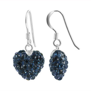12mm Blue Heart 925 Sterling Silver Drop Earrings