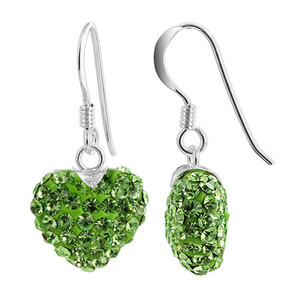 12mm Green Heart 925 Sterling Silver Drop Earrings