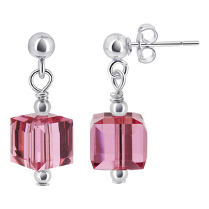 Rose Crystal Drop Earrings