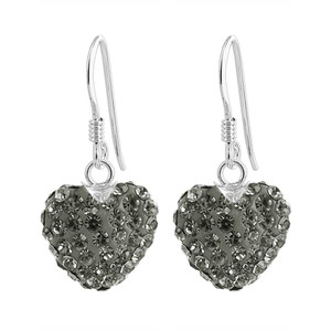 Faceted Black 12mm Heart 925 Silver Drop Earrings