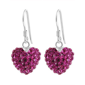 Fuchsia Heart 925 Sterling Silver Drop Earrings