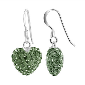 12mm Green Heart Sterling Silver Drop Earrings