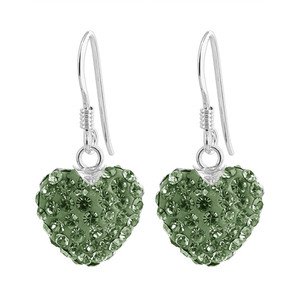 Green Heart Sterling Silver Drop Earrings