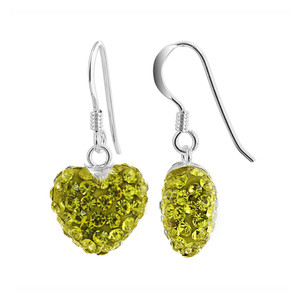 12mm Yellow Heart 925 Sterling Silver Drop Earrings