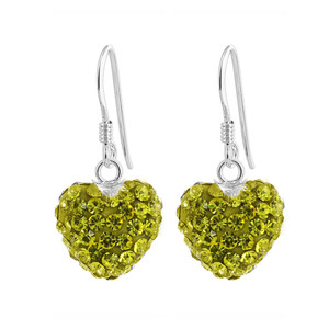 Yellow Heart 925 Sterling Silver Drop Earrings