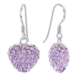 12mm Purple Heart Sterling Silver Drop Earrings