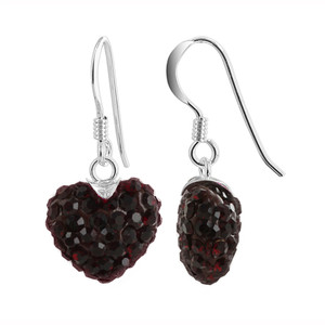 Dark Red Heart 925 Sterling Silver Dangle Earrings