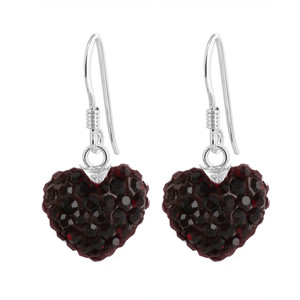 12mm Dark Red Heart 925 Sterling Silver Dangle Earrings