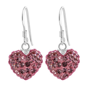 12mm Light Rose Heart 925 Sterling Silver Dangle Earrings