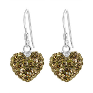 12mm Yellow Heart Sterling Silver Dangle Earrings