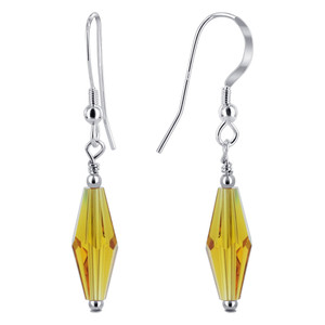 Yellow Crystal Drop Earrings
