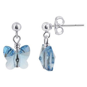 Blue Crystal Post-Back Drop Earrings