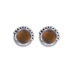 Round Tiger's Eye 925 Silver Stud Earrings