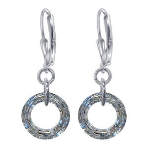 Sterling Silver Donut Shape Swarovski Elements Clear Crystal Leverback Handmade Drop Earrings