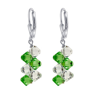 Green & Clear Crystal Handmade 925 Silver Drop Earrings
