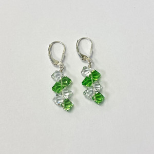 Cluster Swarovski Elements Green & Clear Crystal Handmade Drop Earrings with 925 Sterling Silver Leverback