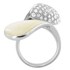 925 Sterling Silver White Mother of Pearl with Cubic Zirconia Overlapping Ring